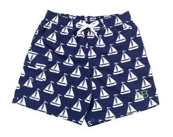 Boy's Swim Trunks - Sailboats Swim Trunks - Monogrammed Swin Trunks