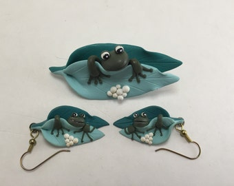 Clay Frog Pin and Earring Set