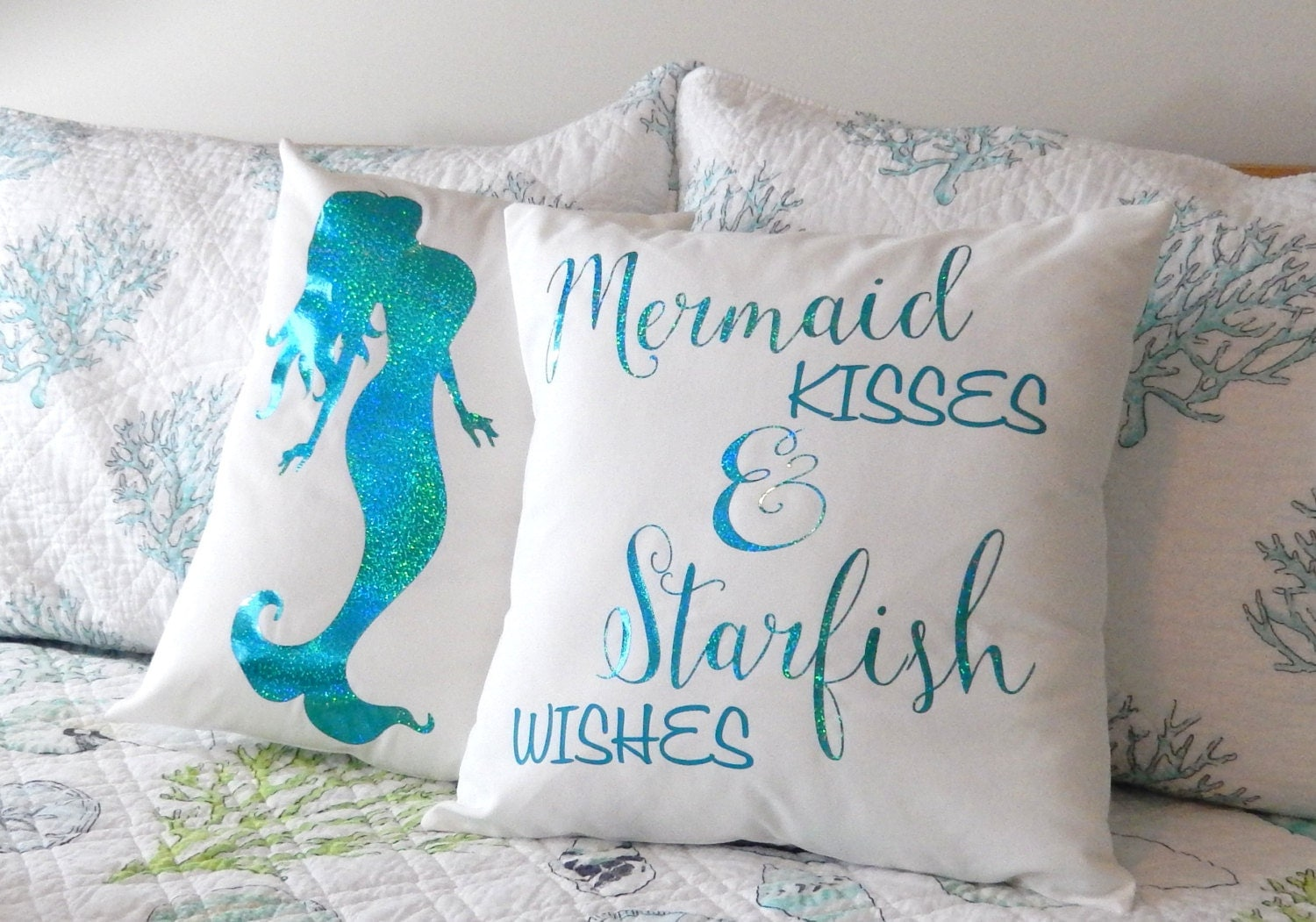 mermaid pillow, reversible sequin pillow, sequin pillow · Heart ...