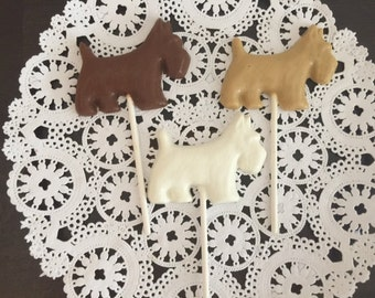 DOG CHOCOLATE Lollipop(12 qty) - Birthday Party/Dog Theme Party/Puppy Party/Party Favors/Dogs/Birthday Party Favors/Scottie Dogs/Dog Favors