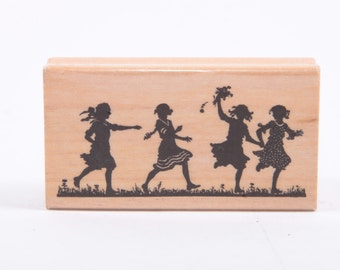Running Kid Sillouettes Rubber Stamp - Vintage - Card Making - Crafts - Paper Crafts - Ephemera ~ 161221