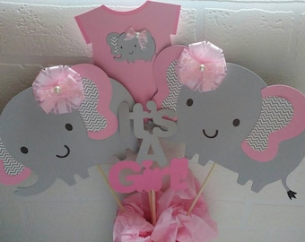 4 Piece Elephant Baby Shower Centerpiece