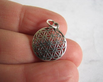Flower of Life Pendant, Sterling Silver Charm for Necklaces and Bracelets