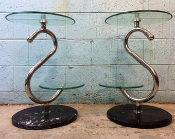 Chrome and Marble Two Tier Stands