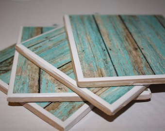 Turquoise drink coasters, distressed wood, ceramic tile, set of 4!  Teal wood print, housewarming gift, beach decor!