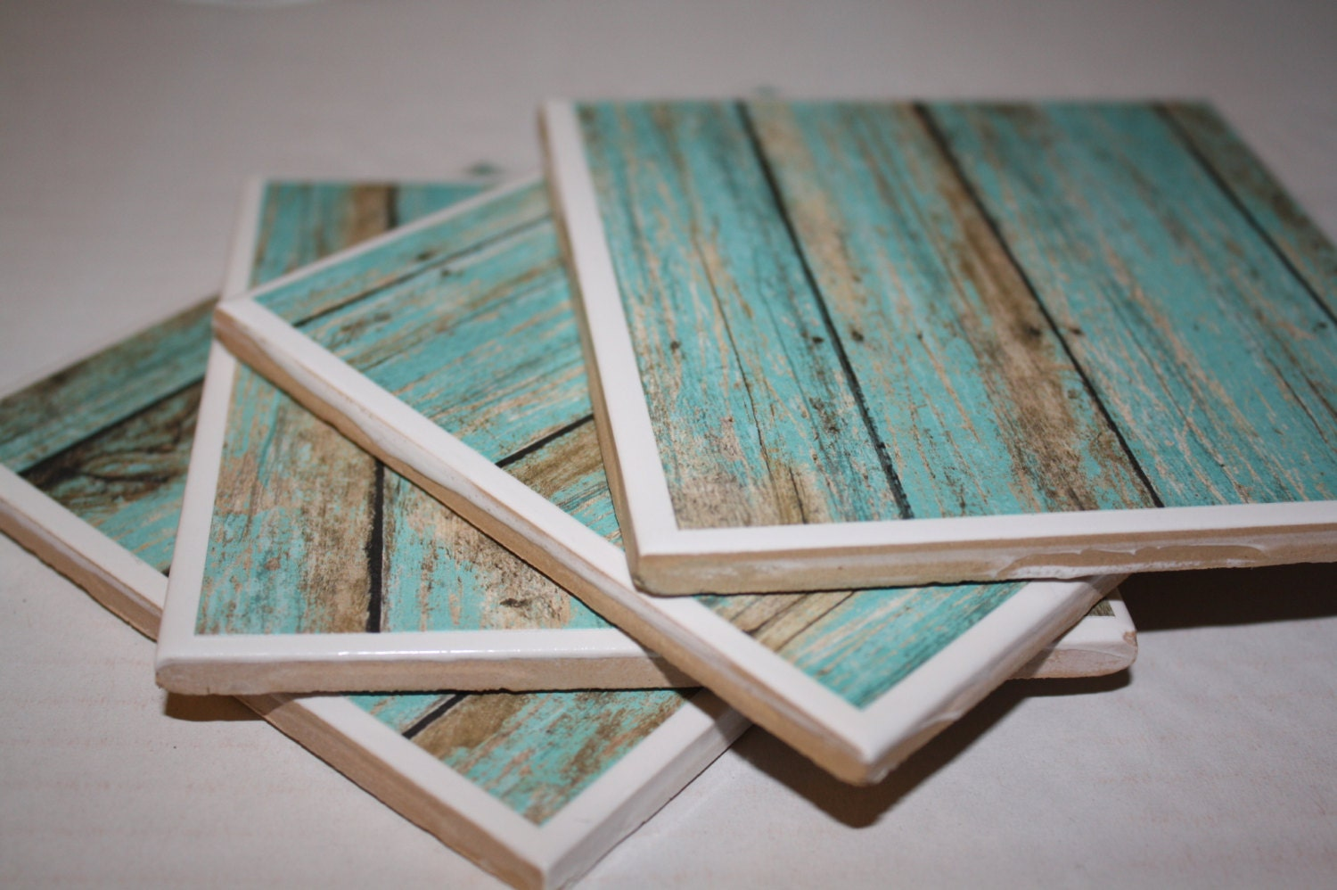 Turquoise Drink Coasters Distressed Wood Ceramic Tile Set