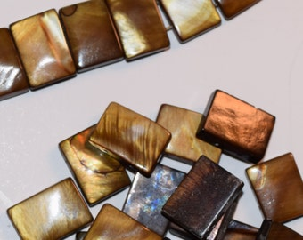 Brown Mother of Pearl Rectangle Beads, Double drilled, 14mm x 3mm x 10mm, Shell beads