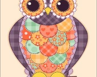 "2"" x 3"" Patchwork Owl MAGNET"