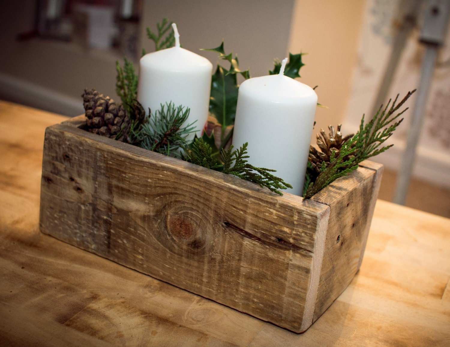 Wooden centerpiece or planter rustic design made from