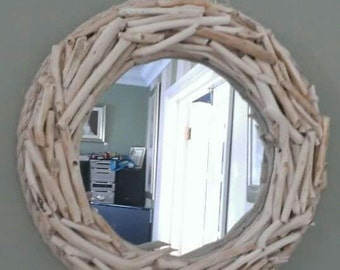 Handcrafted natural wood mirror