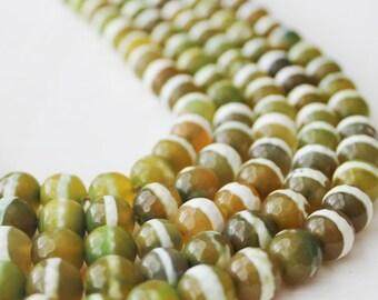 10mm round, yellow white beads, tibetan agate, faceted beads, gemstone beads, agate beads, boho beads, earthy beads,