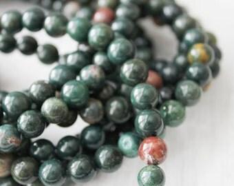 6mm Round Bloodstone - AA Quality Full Strand Mala Beads Bracelet Beads