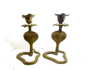 Brass  Candlesticks, Vintage Brass candle holders, Cobra Brass Candlesticks