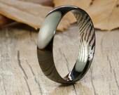 Your Actual Finger Print Rings, Handmade Black Dome Plain Finger Print Ring, Men Ring, Matching Wedding Band, Couple Ring, Titanium Ring