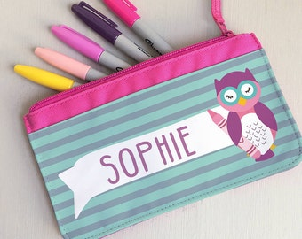 Children's Owl Pencil Case - Personalised Children's Fabric Pencil Case - Owl Pencil Case