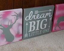 Dream Big Nursery Sign • Woodland Nursery Decor • Girls Camo Sign • Girl Baby Shower Gift • Deer Nursery Sign • Arrow Wood Sign Custom Sign