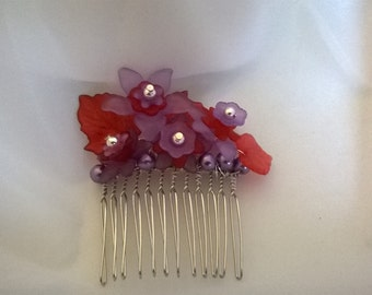 Red Hat Society Hair Comb, Red and Purple Floral Hair Comb, Handmade Purple and Red Hair Comb, Wedding Hair Comb