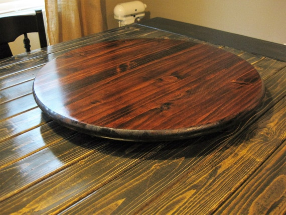 Dark wood lazy susan table centerpiece by woodlazysusan on