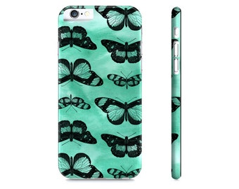 Butterflies Phone Case - Mint Green and Black Butterfly Phone Case - Butterfly iPhone 6 Case - Butterflies iPhone Case - The Mad Case