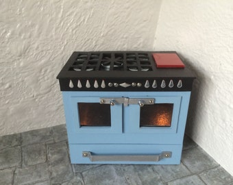 Handmade 1/12th scale Dollshouse Miniature Modern Range Cooker with light up ovens Made to Order