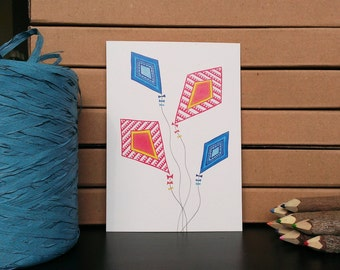 Card Kites - A6 Postcard - Blank Card - Just Because Card - Card Reycled Paper.