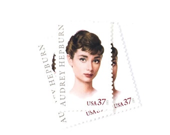 5 x Audrey Hepburn UNused 37 cent white US Postage Stamp - Hollywood - Actress - Glamor - for invites, mailing, crafting, card making