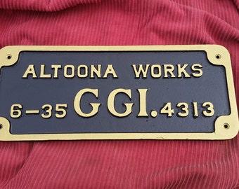 Altoona Works GG1 Builder Plate