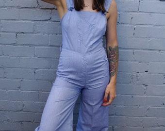 Vintage 1970's baby blue bell bottom jumpsuit