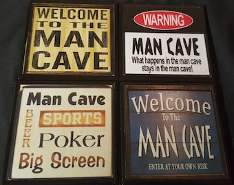 Man Cave Ceramic Tile Drink Coasters