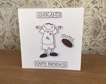 England rugby club card