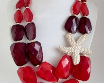 Red Necklace, Multi Strand Chunky Beach Beaded Color Block Necklace, Sea Necklace, Ocean Necklace, Starfish Necklace, Beach Jewelry