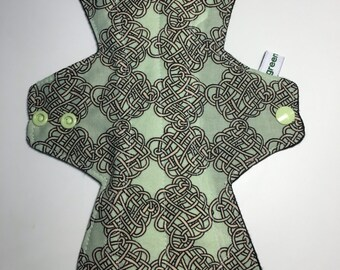 "Celtic Knot print mama cloth pad 10.5"" zorb core wings"
