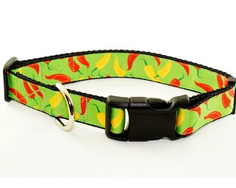 """Hot Chili Pepper Dog Collar (1"""" width) - Large - Extra large"""