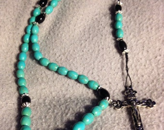 87 - magnesite and obsidian rosary