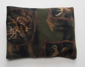 Small Therapeutic Fragrance Free Flaxseed Neck Pillow Pillows Moist Heat Pack Cool Pack Washable Fleece Cover Moose Wildlife Forest Camo