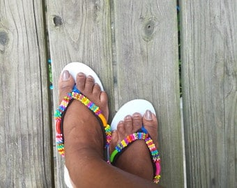 Handmade Beaded Flip flop