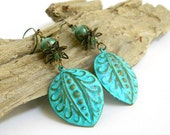 Patina Earrings, Turquoise Earrings, Boho Earrings, Long Earrings, Bead Earrings, Handmade Earrings, Handcrafted Jewelry, Unique Jewelry