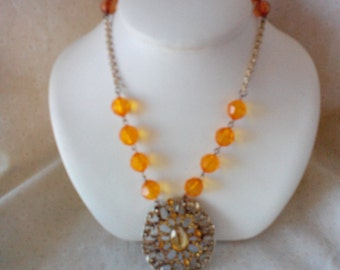Orange Pendant Necklace