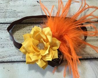 Fall Baby Headband Thanksgiving Baby Headband Autumn Baby Headband Flowers Baby Headband Fall Headband Thanksgiving Headband