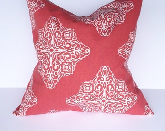 Throw pillow, accent pillow, throw pillow cover, dark coral and off white pillow cover, decorative pillow, decorative throw pillow cover