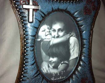 Photo Frame Turquoise with Cross RA8861