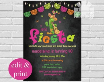 Fiesta Invitation, Mexican Fiesta Birthday Invitation, Fiesta Party,Cinco De Mayo, Mexican Fiesta, Mexican Birthday - INSTANT DOWNLOAD