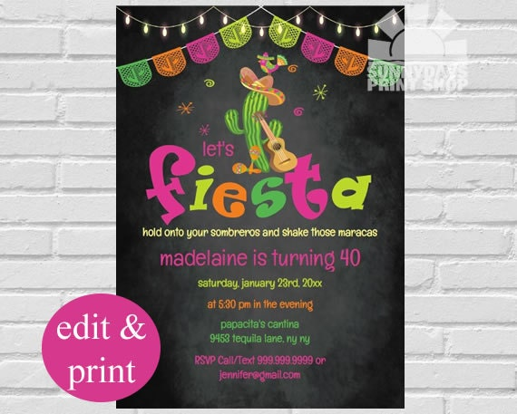 Fiesta invitation mexican fiesta birthday invitation fiesta party il570xn filmwisefo