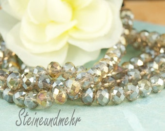 20 x glass beads faceted 8 x 6 grey from gloss. 2251