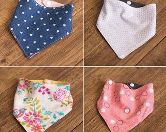 Reversable Bandana Bib for Baby SET OF 4 - Bandana Bib Girl Collection, newborn through 24 months