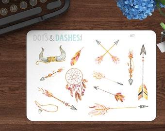 B77, Ethnic Arrow deco sheet, decorative stickers, arrow stickers, feather stickers, dreamcatcher, stickers, planner stickers, kikki k, eclp