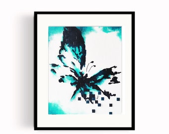 Artwork painting oil on canvas-textured Butterfly card stock 10