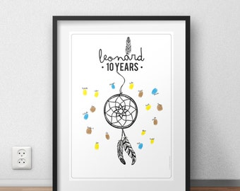 Fingerprint dreamcatcher birthday for boy or girl Guest Book Alternative