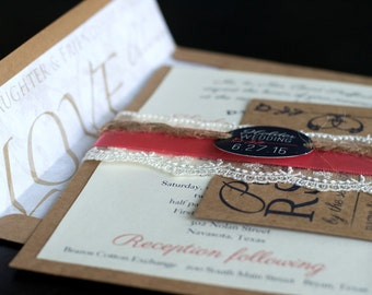 Elegant, Vintage, Rustic, Lace Wedding Invitation Package with RSVP card, envelope, packaged with lace, twine, ribbon and personalized.