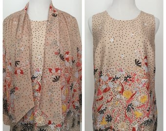 Vintage 1970s Two-Piece Blouse and Tank Set